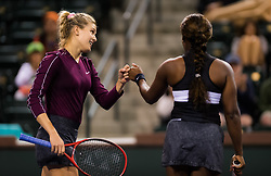 March 6, 2019 - Indian Wells, USA - Eugenie Bouchard of Canada & Sloane Stephens of the United States playing doubles at the 2019 BNP Paribas Open WTA Premier Mandatory tennis tournament (Credit Image: © AFP7 via ZUMA Wire)