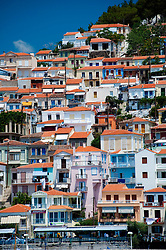 View of town of Plomari on Greek Island of Lesvos in the Aegean