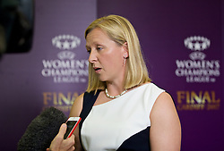 CARDIFF, WALES - Wednesday, August 31, 2016: Wales women's team manager Jayne Ludlow during a gala dinner at the Cardiff Museum to launch the UEFA Champions League Finals 2017 to be held in Cardiff. (Pic by David Rawcliffe/Propaganda)