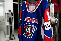 Jersey in Slovenian wardrobe prior to the ice-hockey match between Slovenia and Latvia of IIHF 2011 World Championship Slovakia, on May 5, 2011 in Orange Arena, Bratislava, Slovakia.  (Photo By Vid Ponikvar / Sportida.com)