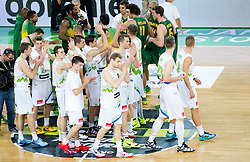 Players of Slovenia after the friendly basketball match between National Teams of Slovenia and Brasil at Day 2 of Telemach Tournament on August 22, 2014 in Arena Stozice, Ljubljana, Slovenia. Photo by Vid Ponikvar / Sportida