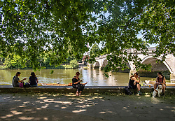 © Licensed to London News Pictures. 02/06/2020. London, UK. Cooling off in the shade as members of the public go out in the sunshine along the Thames at Richmond in South West London as weather experts predict another warm day with highs of 26c. Tomorrow a cold front with rain will hit the South East. On Monday, up to six people are now allowed to meet up in parks and private gardens. Photo credit: Alex Lentati/LNP