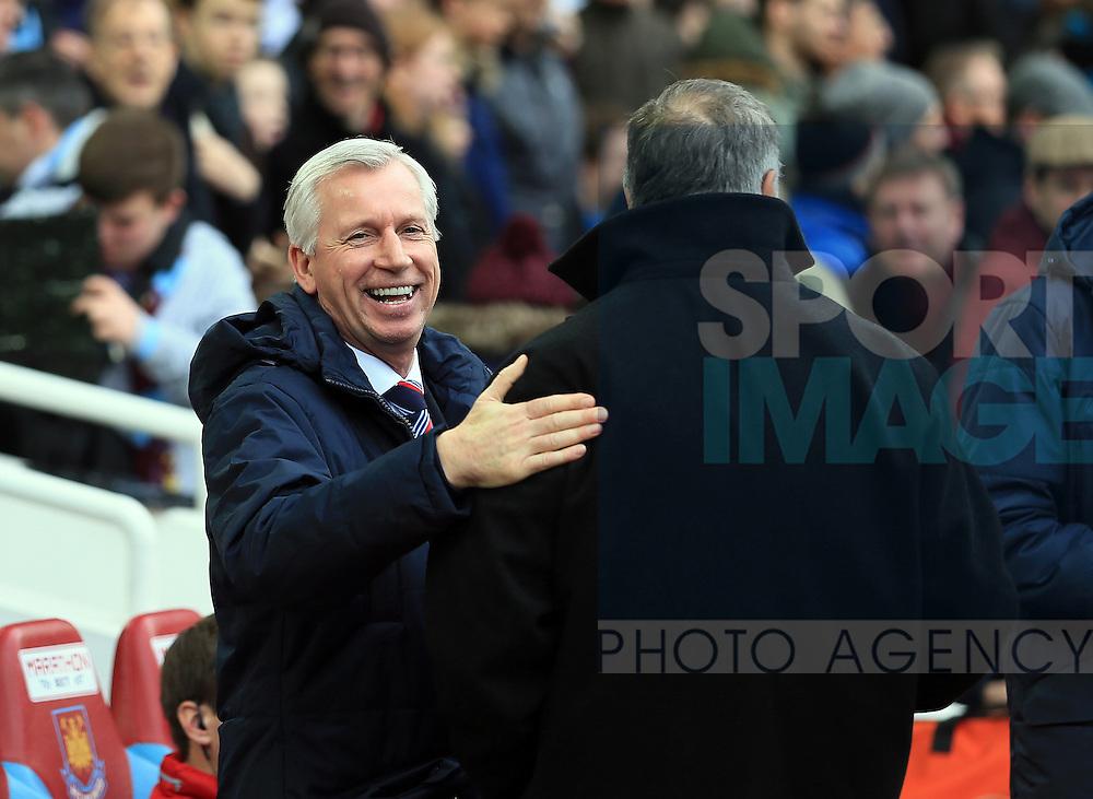 West Ham's Sam Allardyce greets Crystal Palace's Alan Pardew<br /> <br /> Barclays Premier League - West Ham United  vs Crystal Palace  - Upton Park - England - 28th February 2015 - Picture David Klein/Sportimage
