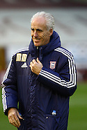 Ipswich Town Manager Mick McCarthy look on prior to kick off. Skybet football league Championship match, Burnley v Ipswich Town at Turf Moor in Burnley, Lancs on Saturday 2nd January 2016.<br /> pic by Chris Stading, Andrew Orchard sports photography.