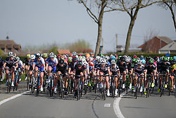 Peloton spread across the road at Women's Gent Wevelgem 2017. A 145 km road race on March 26th 2017, from Boezinge to Wevelgem, Belgium. (Photo by Sean Robinson/Velofocus)