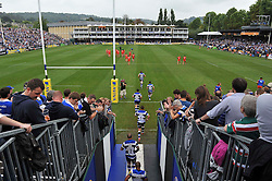 The Bath Rugby team enter the field for the second half - Photo mandatory by-line: Patrick Khachfe/JMP - Mobile: 07966 386802 20/09/2014 - SPORT - RUGBY UNION - Bath - The Recreation Ground - Bath Rugby v Leicester Tigers - Aviva Premiership
