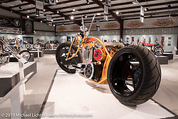 Jesse Rooke's RookeStar 01 S&S custom posthumously included in What's the Skinny Exhibition (2019 iteration of the Motorcycles as Art annual series) at the Sturgis Buffalo Chip during the Sturgis Black Hills Motorcycle Rally. SD, USA. Thursday, August 8, 2019. Photography ©2019 Michael Lichter.