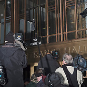 Journalists wait for Harvey Weinstein outside the at Manhattan Criminal Court in Manhattan, NYC on January 23, 2020.