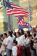 May 25, 2019, Tokyo, Japan: Upon arriving in Japan, President Donald Trump and First Lady Melania headed directly to the US Ambassador's official residence where Trump addressed a group of Japanese and American business leaders. Outside the embassy, fans of the president both Japanese and Americans lined up to greet him as his motorcade entered the embassy compound. Photo by Torin Boyd.