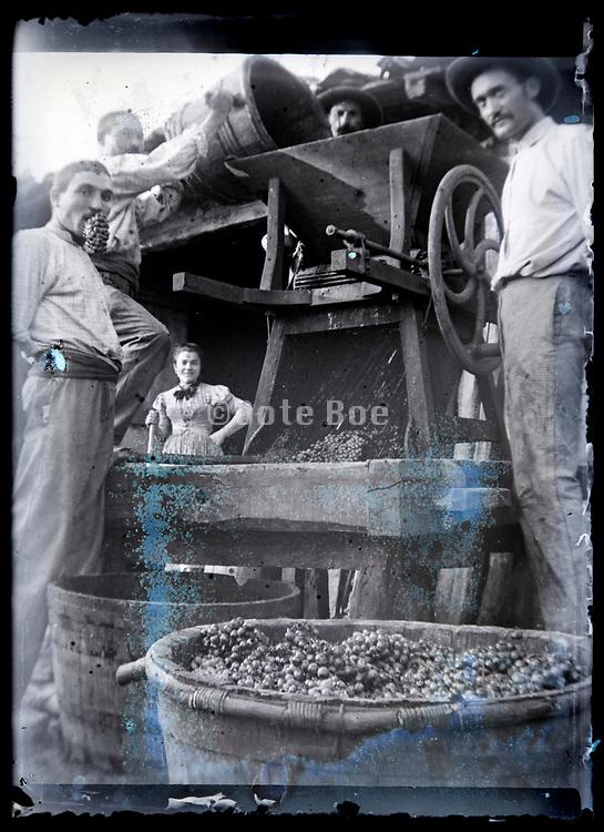 grapes cruching France circa 1920s