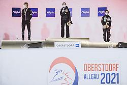 25.02.2021, Oberstdorf, GER, FIS Weltmeisterschaften Ski Nordisch, Oberstdorf 2021, Damen, Skisprung, HS106, Einzelbewerb, im Bild Silbermedaillen Gewinnerin Maren Lundby (NOR), Weltmeisterin und Goldmedaillen Gewinnerin Ema Klinec (SLO), Bronzemedaillen Gewinnerin Sara Takanashi (JPN) // Silver medallist Maren Lundby of Norway World Champion and gold medallist Ema Klinec of Slovenia bronze medallist Sara Takanashi of Japan during women ski Jumping HS106 single Competition of FIS Nordic Ski World Championships 2021. Oberstdorf, Germany on 2021/02/25. EXPA Pictures © 2021, PhotoCredit: EXPA/ JFK