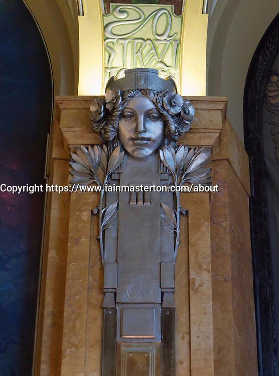 Art Nouveau detail inside Municipal House or Obecni Dum in Prague in Czech Republic
