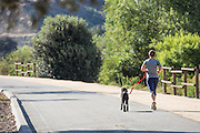 Man Running on a Path with his Dog