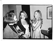 Sophiee di Giacomo, Ivana Lowell, Candace Bushnell Racquet Tennis club, Sept 26 95© Copyright Photograph by Dafydd Jones 66 Stockwell Park Rd. London SW9 0DA Tel 020 7733 0108 www.dafjones.com