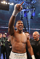 "File photo dated 30-04-2017 of Anthony Joshua. PRESS ASSOCIATION Photo. Picture date: Saturday April 29, 2017. Tyson Fury believes a match-up with Anthony Joshua is the only fight people want to see and claimed he would win with ""one arm tied behind my back"". PRESS ASSOCIATION Photo. Issue date: Tuesday May 2, 2017. See PA story BOXING Joshua. Photo credit should read Nick Potts/PA Wire."