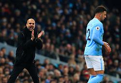 Manchester City manager Pep Guardiola encourages Kyle Walker - Mandatory by-line: Matt McNulty/JMP - 20/01/2018 - FOOTBALL - Etihad Stadium - Manchester, England - Manchester City v Newcastle United - Premier League