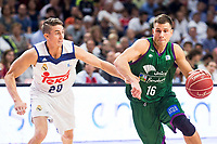 Real Madrid's player Jaycee Carroll and Unicaja Malaga's player XXNemanja Nedovic during match of Liga Endesa at Barclaycard Center in Madrid. September 30, Spain. 2016. (ALTERPHOTOS/BorjaB.Hojas)