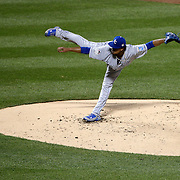 Pitcher Edinson Volquez, Kansas City Royals, pitching during the New York Mets Vs Kansas City Royals, Game 5 of the MLB World Series at Citi Field, Queens, New York. USA. 1st November 2015. Photo Tim Clayton
