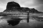 Self-portrait at Lomagnupur, a magnificent imposing mountain in southern Iceland