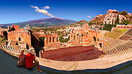 Taormina Greek Ampitheatre with Mount Etna Volcano in the distance, Sicily .<br /> <br /> Visit our SICILY PHOTO COLLECTIONS for more   photos  to download or buy as prints https://funkystock.photoshelter.com/gallery-collection/2b-Pictures-Images-of-Sicily-Photos-of-Sicilian-Historic-Landmark-Sites/C0000qAkj8TXCzro