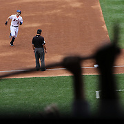David Wright rounds the bases after hitting a three run homer during R.A. Dickey pitching his 20th win of the season during the New York Mets v Pittsburgh Pirates regular season baseball game at Citi Field, Queens, New York. USA. 27th September 2012. Photo Tim Clayton
