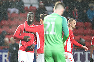 Charlton Athletic defender Naby Sarr (23) red card, sent offduring the EFL Sky Bet League 1 match between Charlton Athletic and AFC Wimbledon at The Valley, London, England on 15 December 2018.