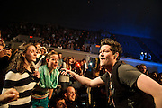 WASHINGTON, D.C. - November 7th, 2012 - Danny O'Donoghue of The Script enlists some lucky fans to help sing during the band's performance at DAR Constitution Hall in Washington, D.C.  (Photo by Kyle Gustafson/ For The Washington Post)