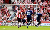 Photo: Alan Crowhurst.<br />Southampton v Southend United. Coca Cola Championship. 06/05/2007. Southend's Adam Barrett (R) scores 0-1.