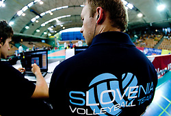 Slovenia volleyball team during volleyball match between National Teams of Slovenia and Belgium of 2011 CEV Volleyball European League Men - Pool A, on July 9, 2011, in  Arena Ljudski vrt Lukna, Maribor, Slovenia. Slovenia defeated Belgium 3-1. (Photo by Vid Ponikvar / Sportida)