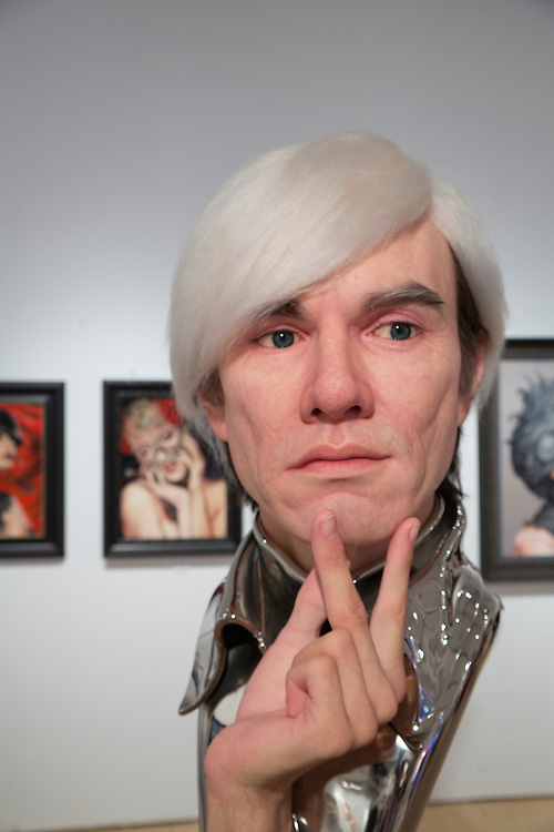 A startlingly realistic bust of Andy Warhol at the Scope Art Fair during Art Basel Miami Beach 2013