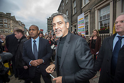 George Clooney leaving the Peoples Postcode Lottery offices, Edinburgh.