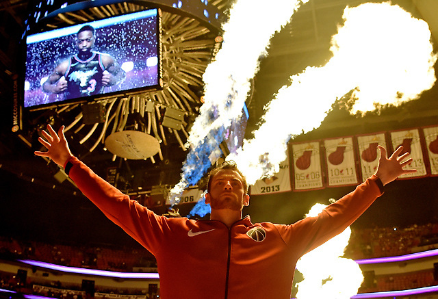 Nov 10, 2018; Miami, FL, USA; Washington Wizards forward Jason Smith (14) reacts as flames exploded as members of the Miami Heat are being introduced before their game at American Airlines Arena. Mandatory Credit: Steve Mitchell