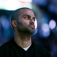 04 April 2017: San Antonio Spurs guard Tony Parker (9) is seen during the national anthem prior to the San Antonio Spurs 95-89 OT victory over the Memphis Grizzlies, at the AT&T Center, San Antonio, Texas, USA.