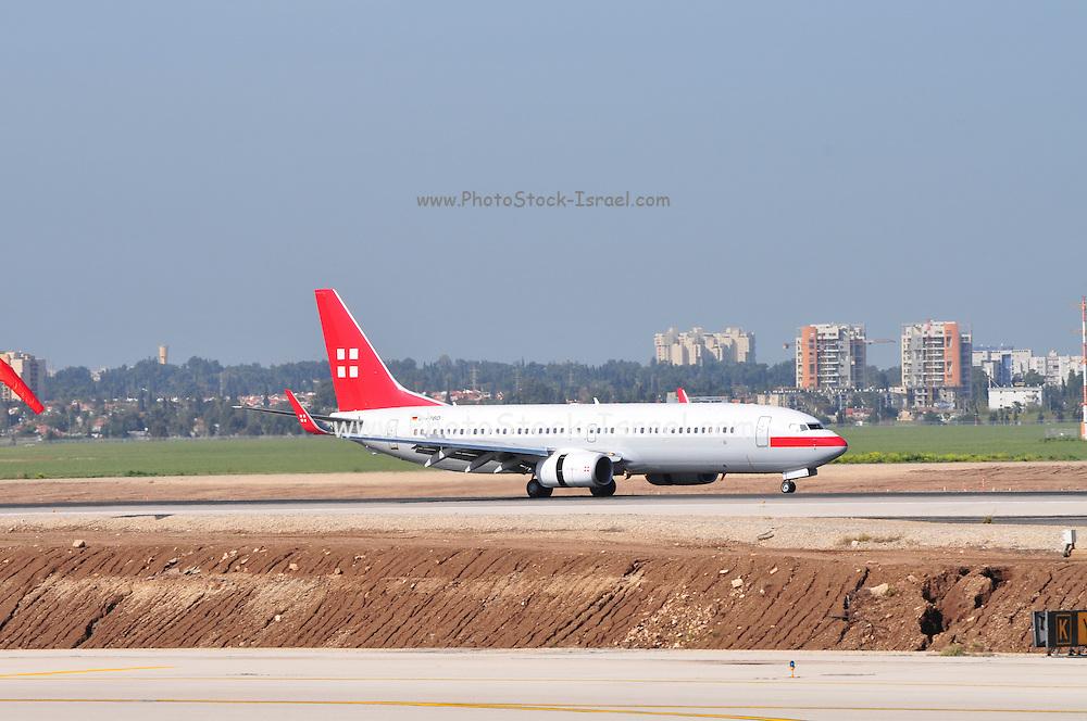 Israel, Ben-Gurion international Airport Passenger Jet landing