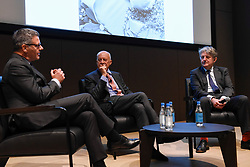 """© Licensed to London News Pictures. 23/05/2017. London, UK.   (L to R) Pierre Raniero, Image Style Heritage Director, Lord Norman Foster and Design Museum director Deyan Sudjic.  Press preview of """"Cartier in Motion"""", an exhibition on Cartier,  co-curated by celebrated architect Lord Norman Foster and Design Museum director Deyan Sudjic, at the Design Museum in London.   The exhibition runs from 25 May to 28 July 2017. Photo credit : Stephen Chung/LNP"""