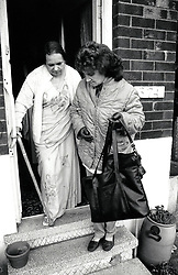 Carer & elderly woman, Nottingham UK 1989