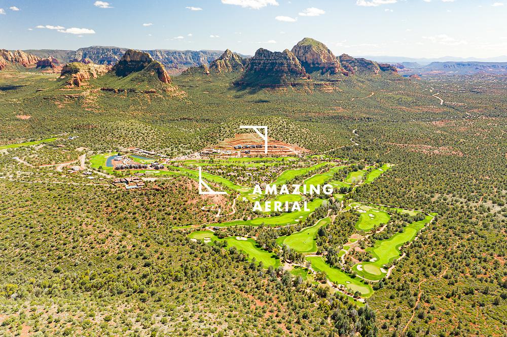Aerial view of Seven Canyons Golf Club close to Sedona, Arizona, USA.