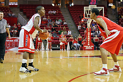 11 November 2007: Keith Boo Richardson and Jason Black stare at each other trying to figure the others next move.  Illinois State Redbirds defeated the Missouri - St. Louis Tritons 70-37 in an early season game on Doug Collins Court in Redbird Arena on the campus of Illinois State University in Normal Illinois.