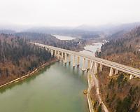 Aerial view of concrete bridge crossing Bajersko jezero lake, Croatia.