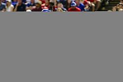 May 8, 2018 - Arlington, TX, U.S. - ARLINGTON, TX - MAY 08: Texas Rangers shortstop Jurickson Profar (19) watches the baseball bounce in front of the plate during the game between the Texas Rangers and the Detroit Tigers on May 08, 2018 at Globe Life Park in Arlington, Texas. Detroit defeats Texas 7-4. (Photo by Matthew Pearce/Icon Sportswire) (Credit Image: © Matthew Pearce/Icon SMI via ZUMA Press)