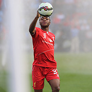 Raheem Sterling, Liverpool, during warm up before the Manchester City Vs Liverpool FC Guinness International Champions Cup match at Yankee Stadium, The Bronx, New York, USA. 30th July 2014. Photo Tim Clayton