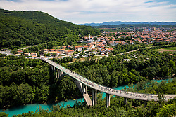 Peloton and view on Solkan Bridge and Nova Gorica during the 4th Stage of 27th Tour of Slovenia 2021 cycling race between Ajdovscina and Nova Gorica (164,1 km), on June 12, 2021 in Slovenia. Photo by Vid Ponikvarj / Sportida