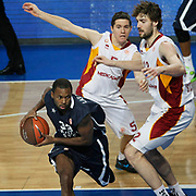 Anadolu Efes's Oliver Lafayette (L) and Galatasaray's Luksa Andric (R) during their Turkish Airlines Euroleague Basketball Top 16 Game 1 match Anadolu Efes between Galatasaray at Sinan Erdem Arena in Istanbul, Turkey, Thursday, January 19, 2012. Photo by TURKPIX