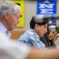 Priscilla Manuelito calls the Gallup McKinley County Schools board into an executive session during a special meeting at the GMCS Student Support Center in Gallup Friday.