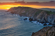 Sunset over the steep coastal cliffs at the Point Reyes Headlands, Point Reyes National Seashore, Marin County, California