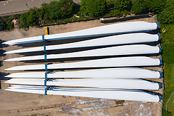 Aerial view of large wind turbine blades stored at King George V dock in Glasgow, Scotland, UK