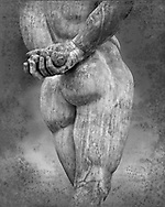 End of 2nd century beginning of 3rd century AD Roman marble sculpture of Hercules hand copied from the second half of the 4th century BC Hellanistic Greek original,  inv 6001, Farnese Collection, Naples Museum of Archaeology, Italy. Black and White Wall art print by Photographer Paul E Williams