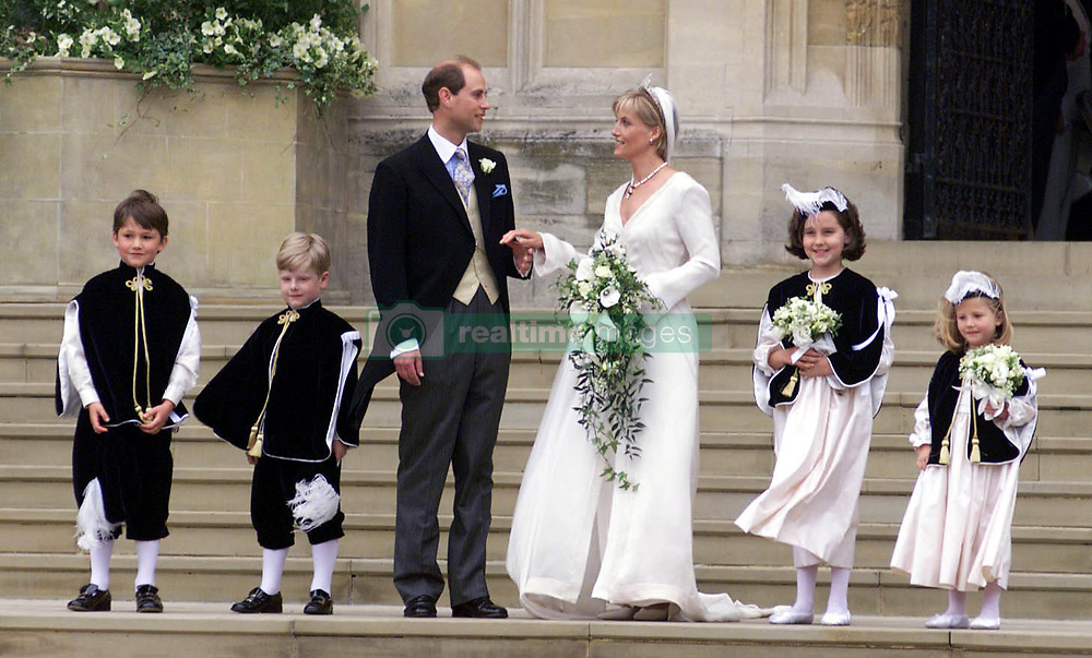 Prince Edward, his wife Sophie Rhys- Jones and her pageboys and bridesmaids (from left) Felix Sowerbutts, Harry Warburton, Camilla Hadden and Olivia Taylor, leave St. George's Chapel in Windsor after the marriage of the Prince and Miss Rhys- Jones.  They will hereafter be known as the Earl and Countess of Wessex.