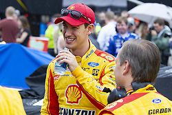June 10, 2018 - Brooklyn, Michigan, U.S - NASCAR driver JOEY LOGANO (22) waits for the rain to clear up at Michigan International Speedway. (Credit Image: © Scott Mapes via ZUMA Wire)