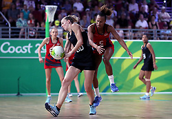 England's Serena Guthrie (right) and New Zealand's Katrina Grant in action in the netball at the Gold Coast Convention and Exhibition Centre during day seven of the 2018 Commonwealth Games in the Gold Coast, Australia.